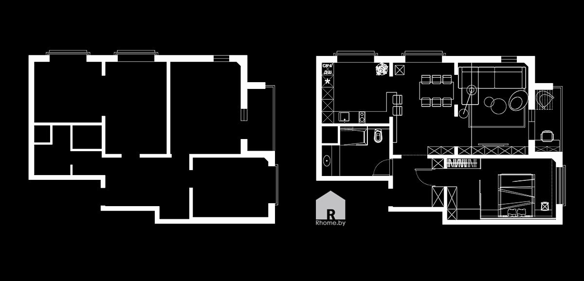Планировка квартиры в Новой Боровой | Дизайн студия – Rhome.by