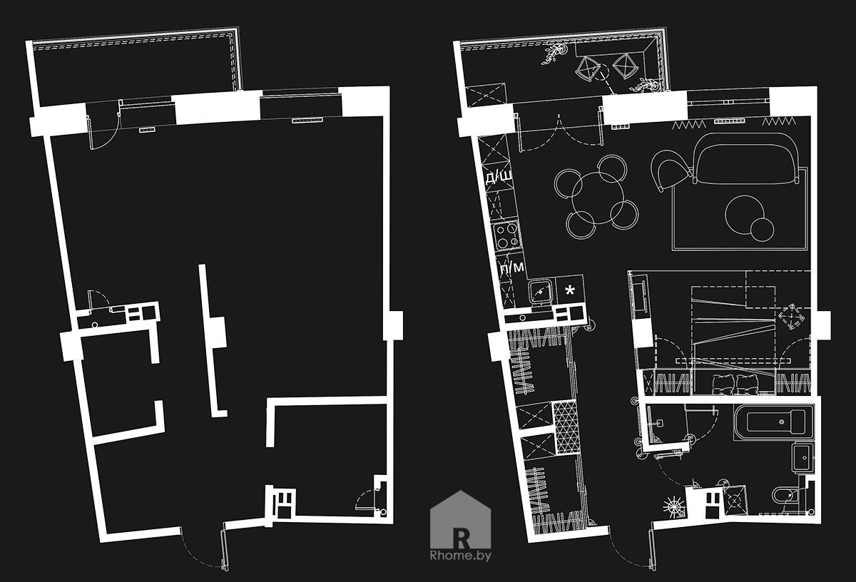 План планировки квартиры до и после дизайна