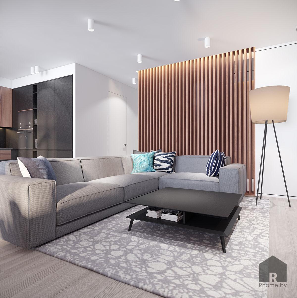 Дизайн интерьера гостиной в ЖК «Браславский» | Дизайн студия – Rhome.by