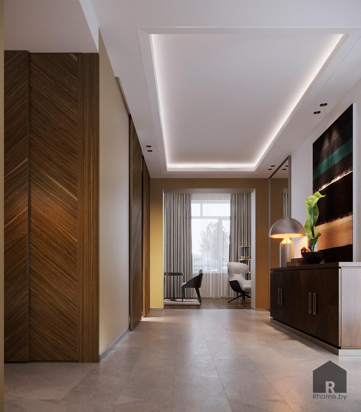Дизайн интерьера холла в Березовой роще   Дизайн студия – Rhome.by