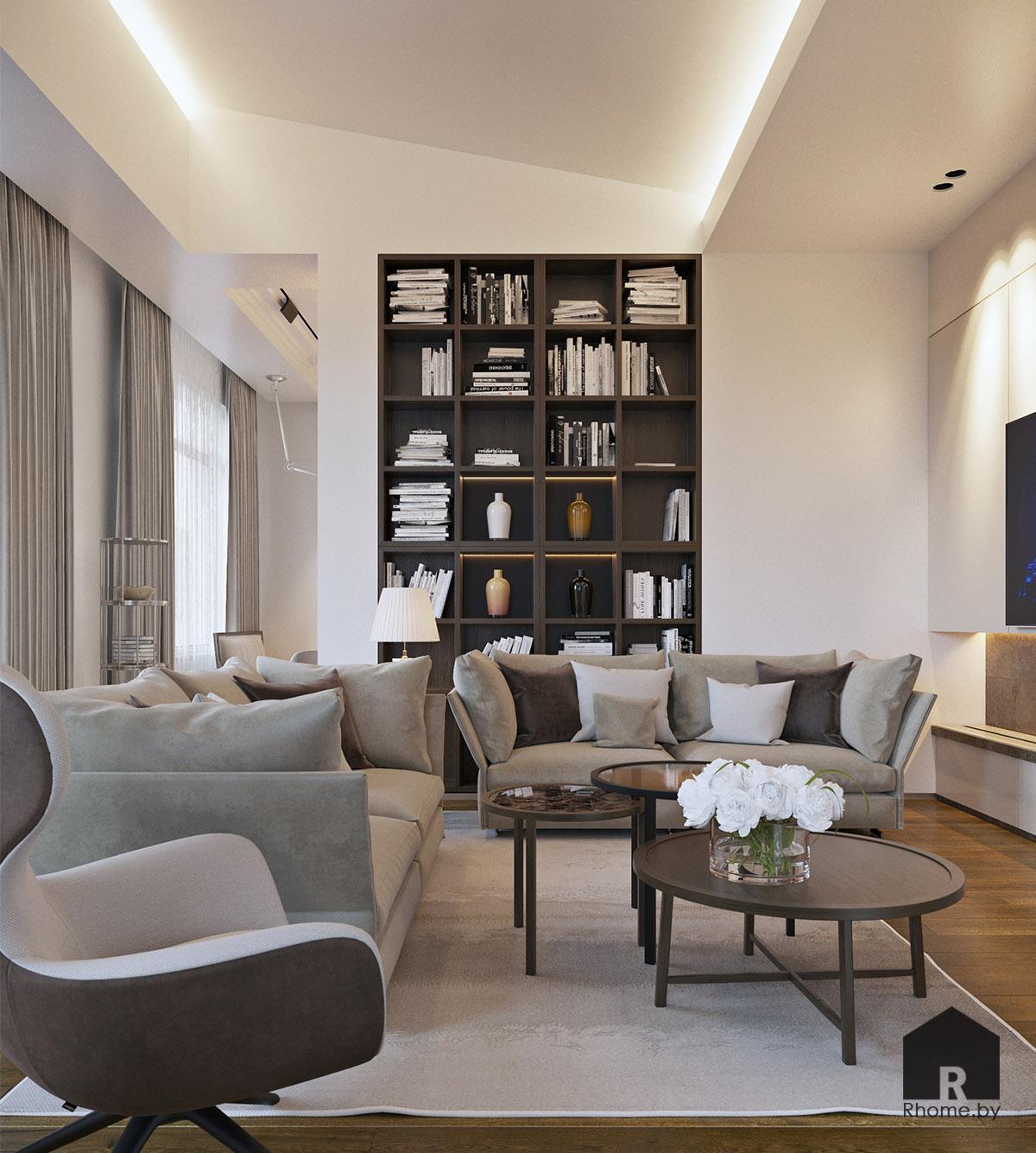 Дизайн интерьера гостиной в Березовой роще   Дизайн студия – Rhome.by