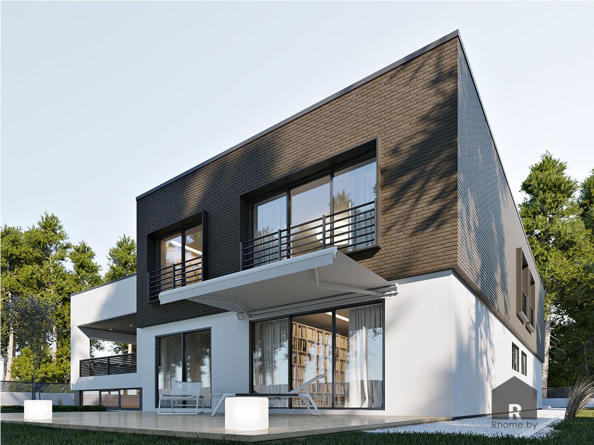 Дневной экстерьер фасада дома с открытой террасой | Дизайн студия – Rhome.by