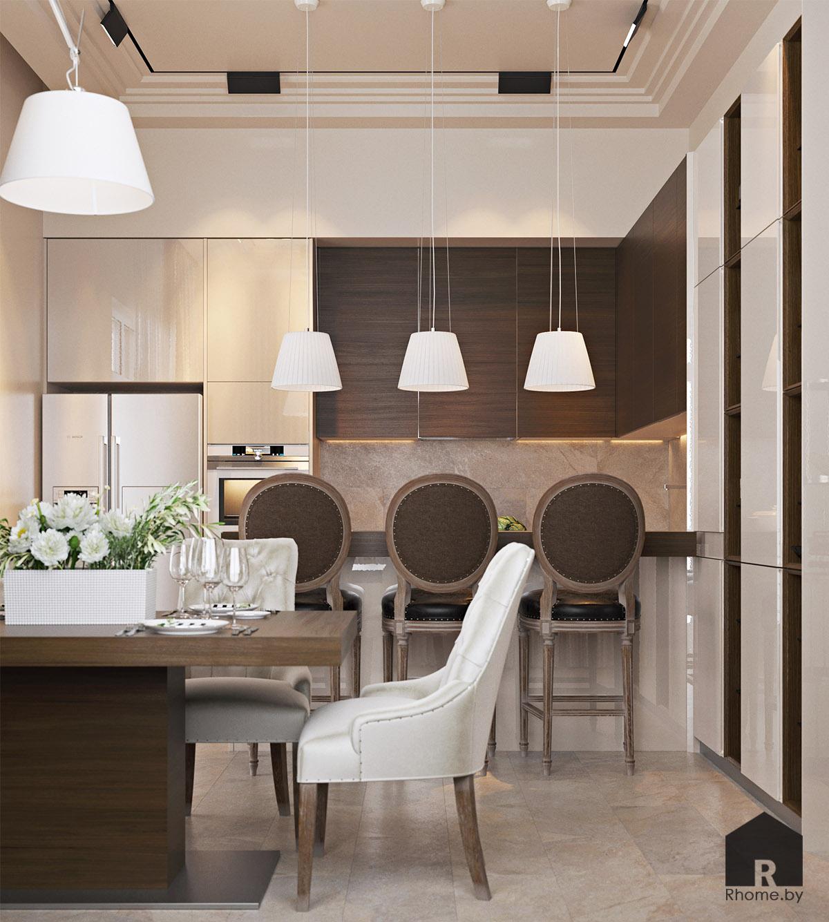 Дизайн интерьера кухни в Березовой роще   Дизайн студия – Rhome.by