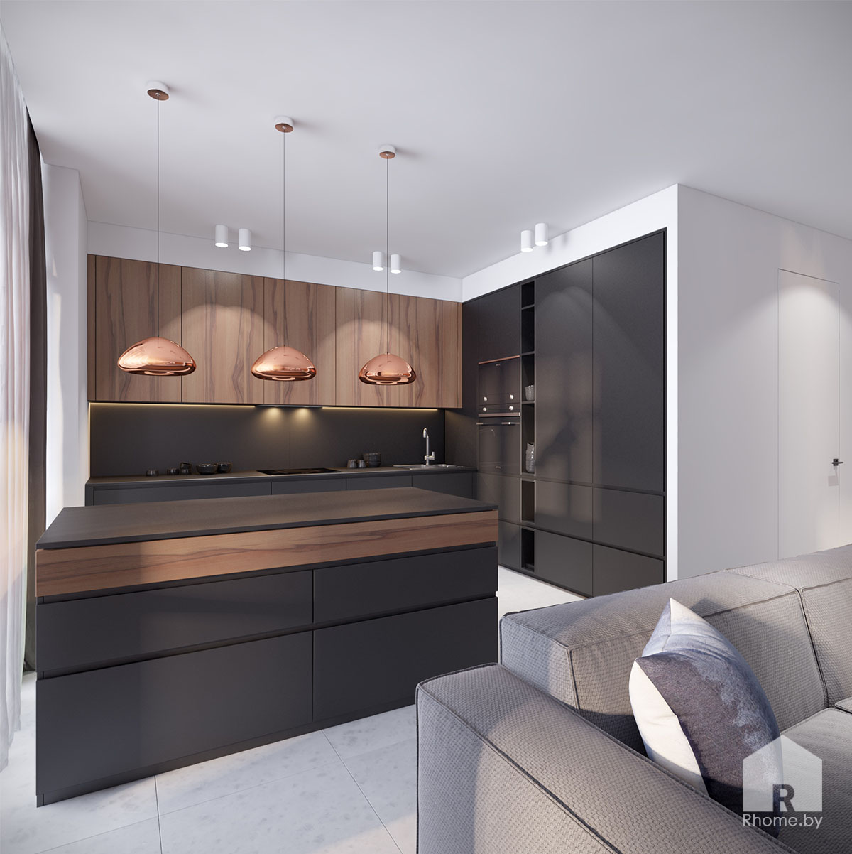 Дизайн интерьера кухни в ЖК «Браславский» | Дизайн студия – Rhome.by