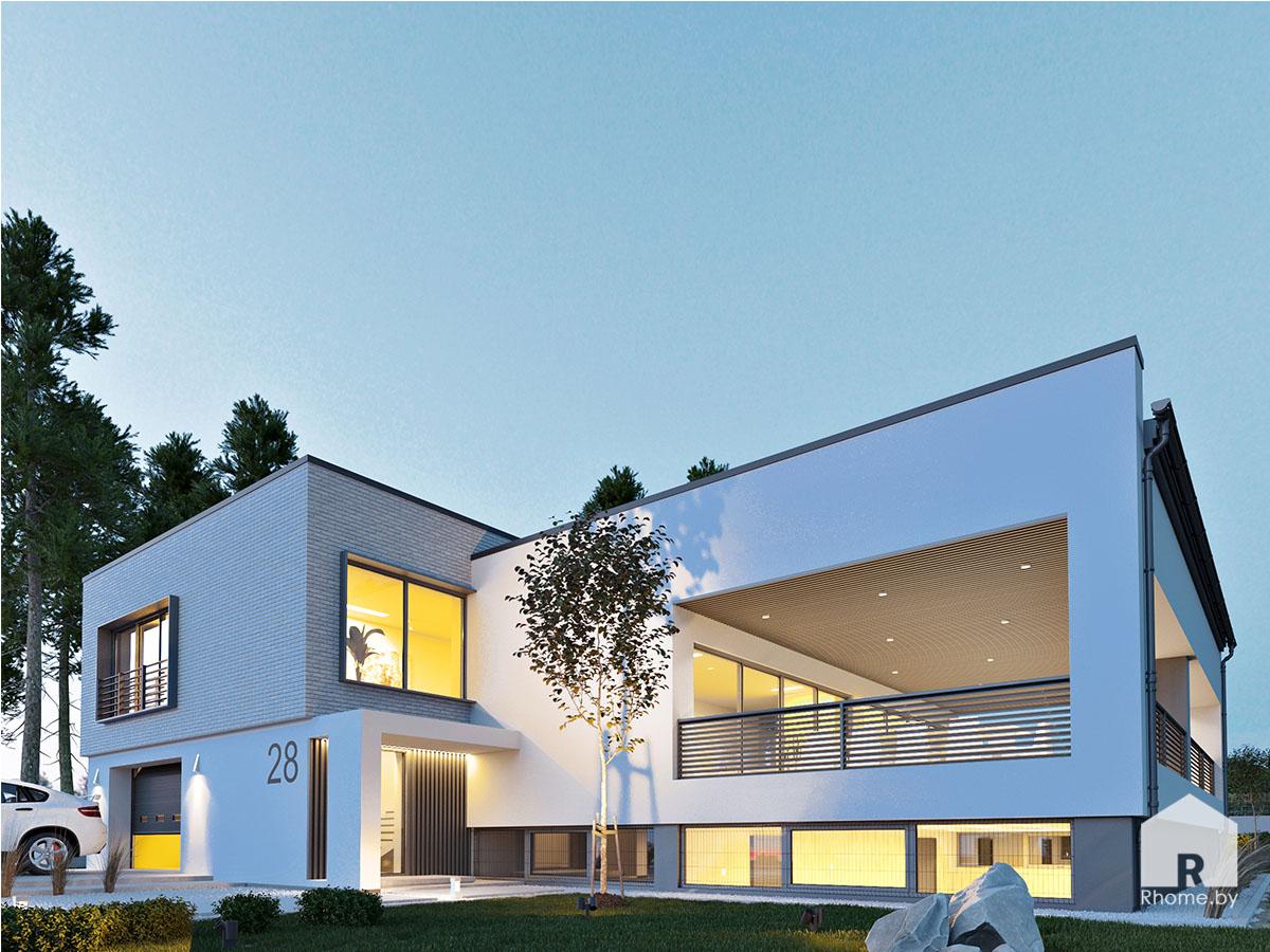Ночной экстерьер фасада дома с открытой террасой | Дизайн студия – Rhome.by