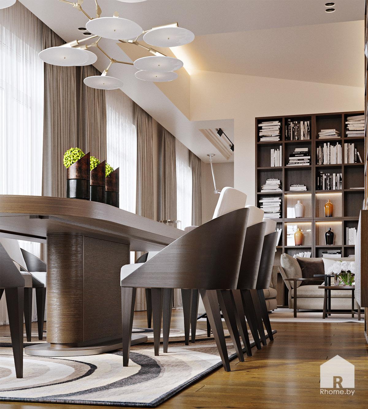 Дизайн интерьера столовой комнаты в Березовой роще   Дизайн студия – Rhome.by