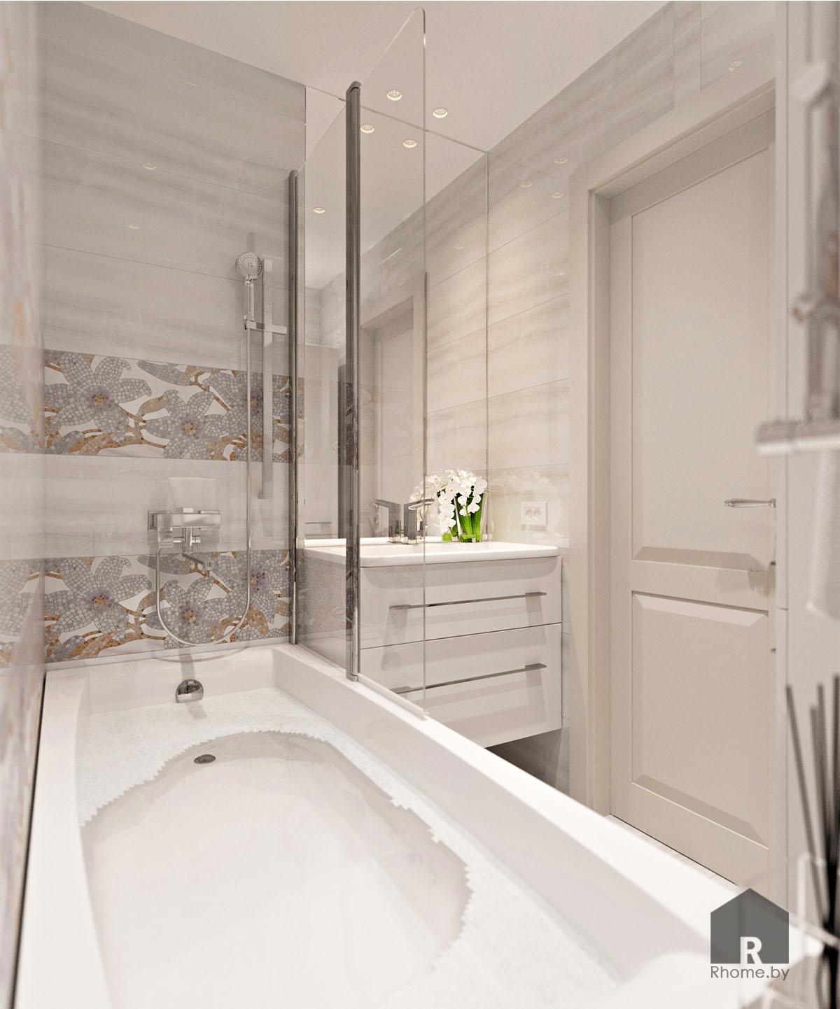 Дизайн интерьера ванной по ул. Белинского | Дизайн студия – Rhome.by