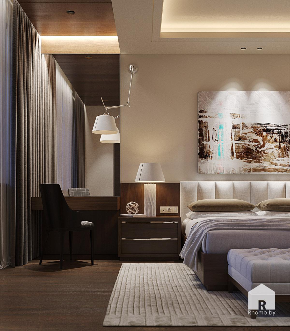Дизайн интерьера спальни в Березовой роще   Дизайн студия – Rhome.by
