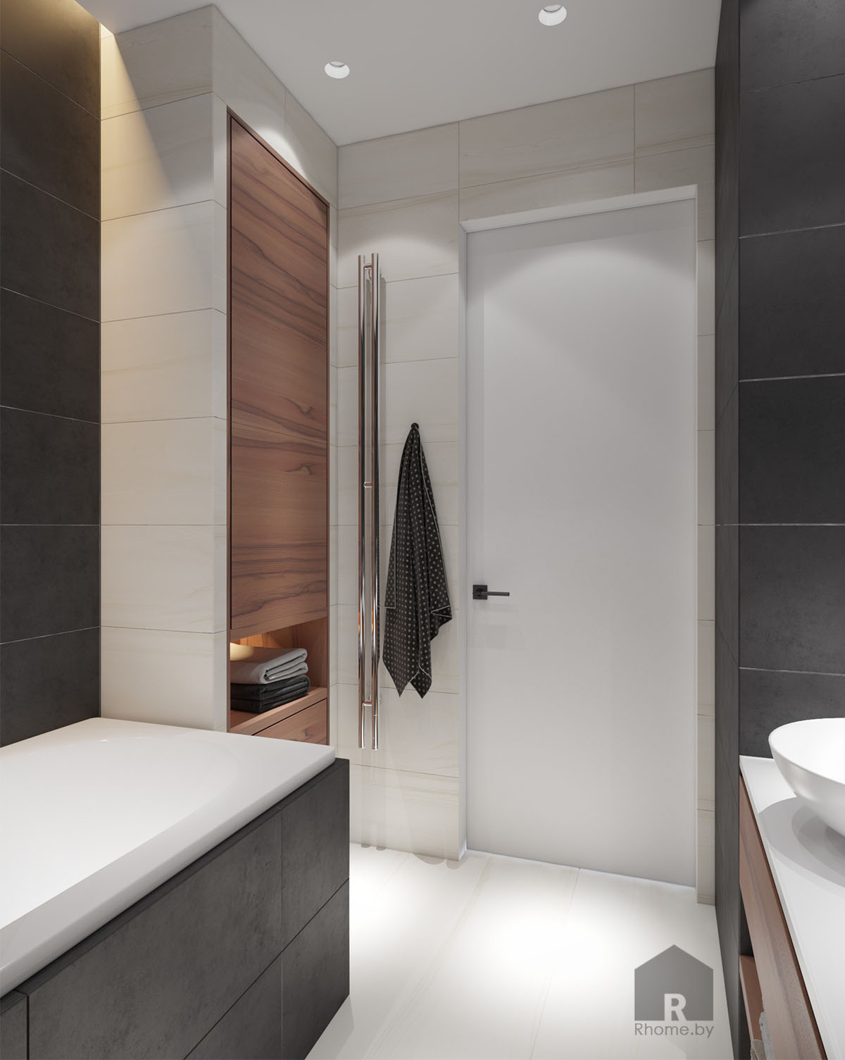 Дизайн интерьера ванной в ЖК «Браславский» | Дизайн студия – Rhome.by