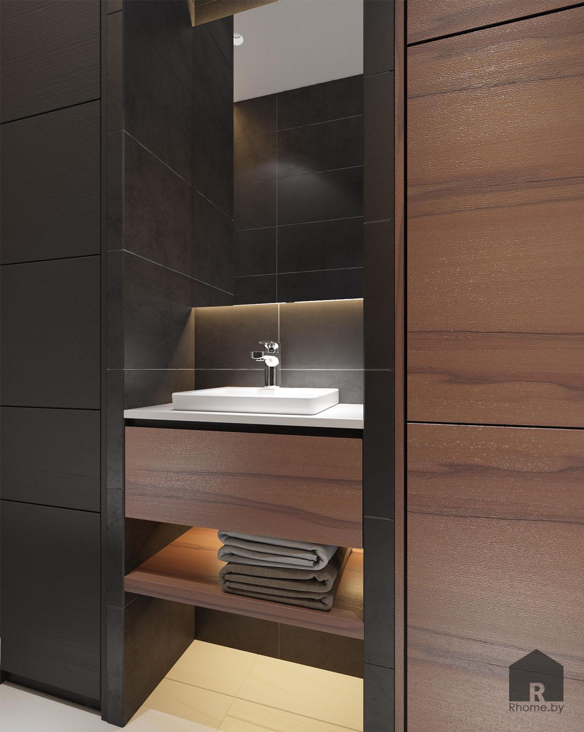 Дизайн интерьера туалета в ЖК «Браславский» | Дизайн студия – Rhome.by