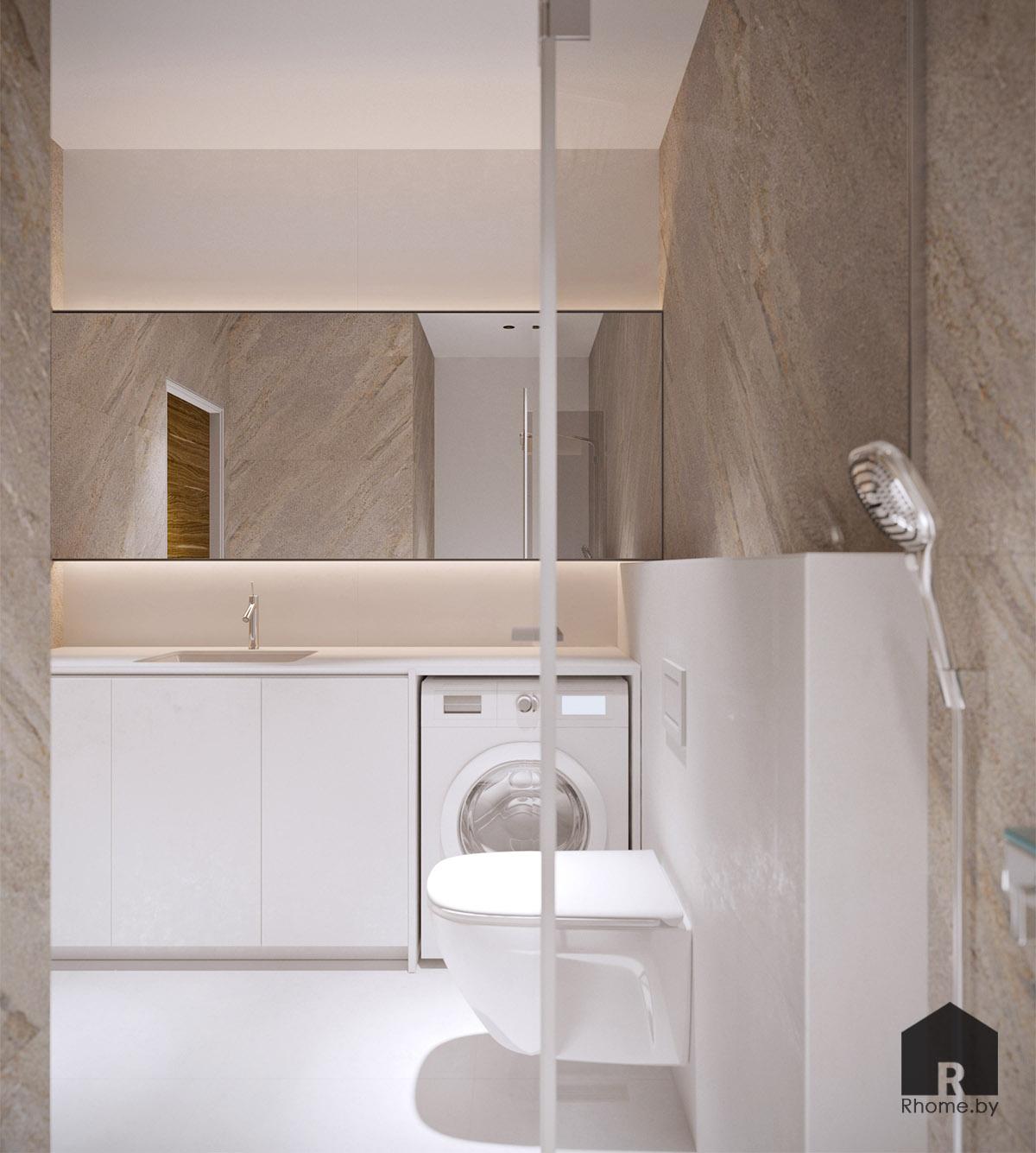 Дизайн интерьера туалета в Березовой роще   Дизайн студия – Rhome.by