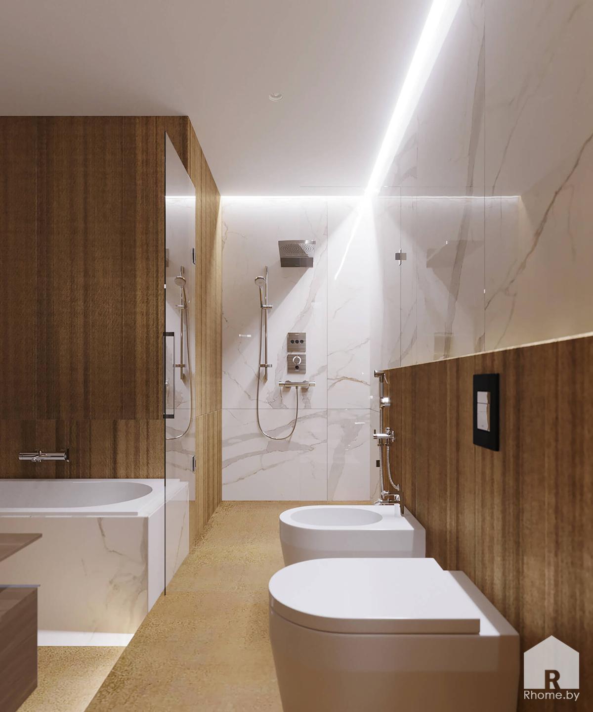 Санузел на втором этаже | Дизайн студия – Rhome.by