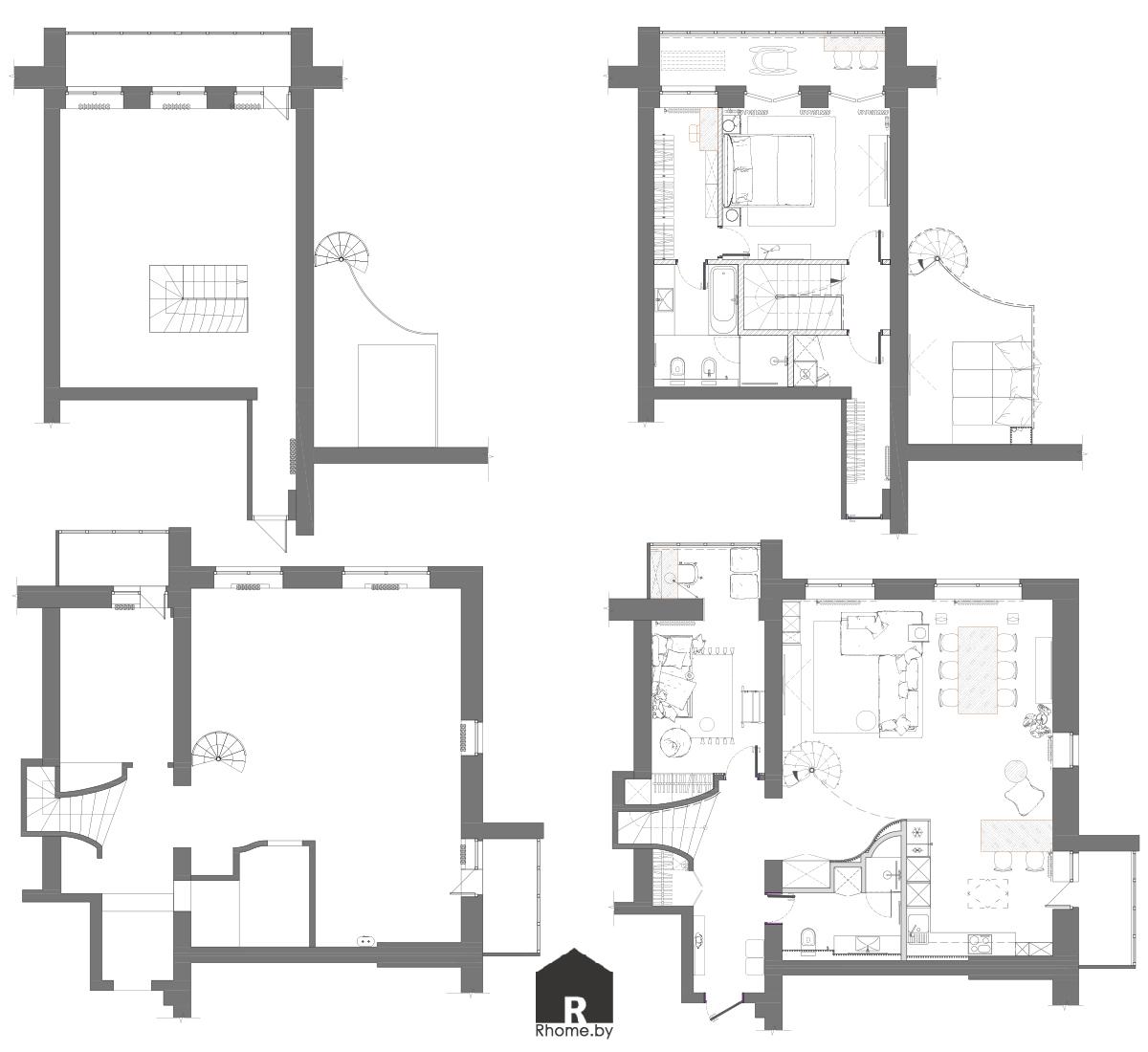 Планировка двухуровневой квартиры | Дизайн студия – Rhome.by