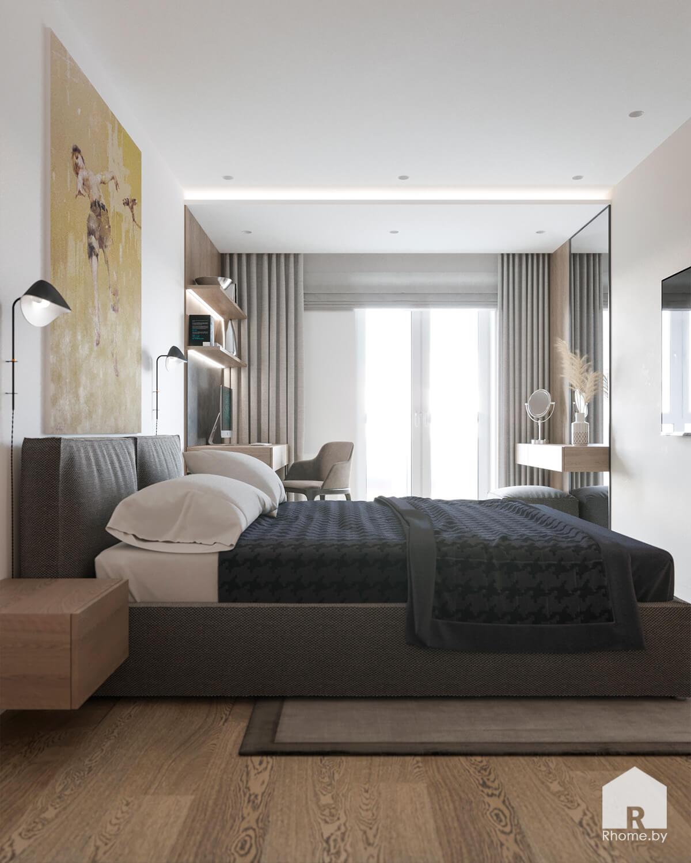 Светлая спальня с рабочей зоной и туалетным столиком