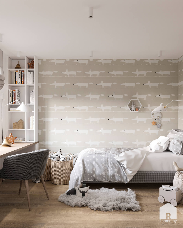Светлая детская комната с интересными обоями