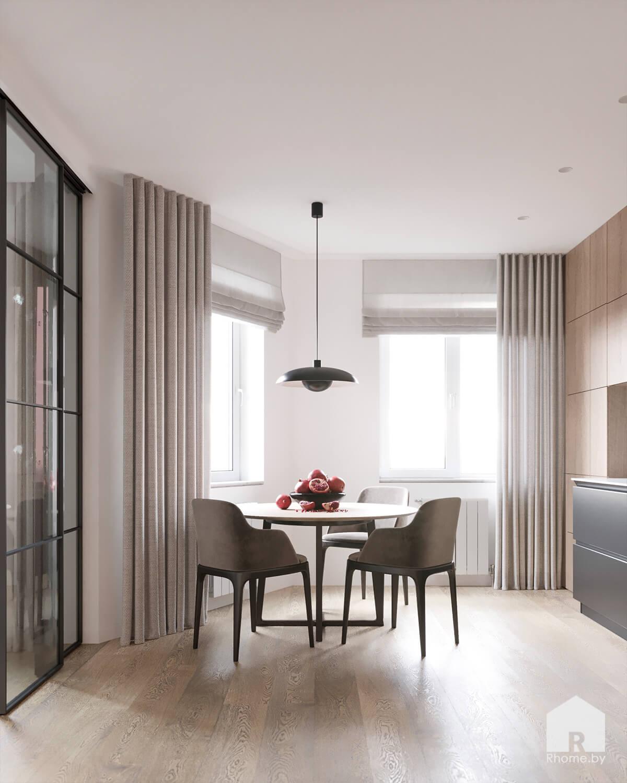 Круглый стол на светлой деревянной кухне