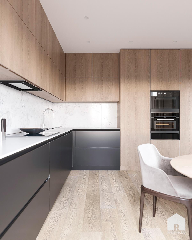 Деревянная минималистичная современная кухня