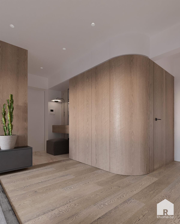Гостинная с деревянными панелями стены