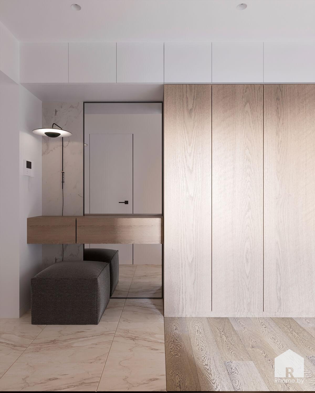 Деревянный шкаф в гостинной и рабочий стол