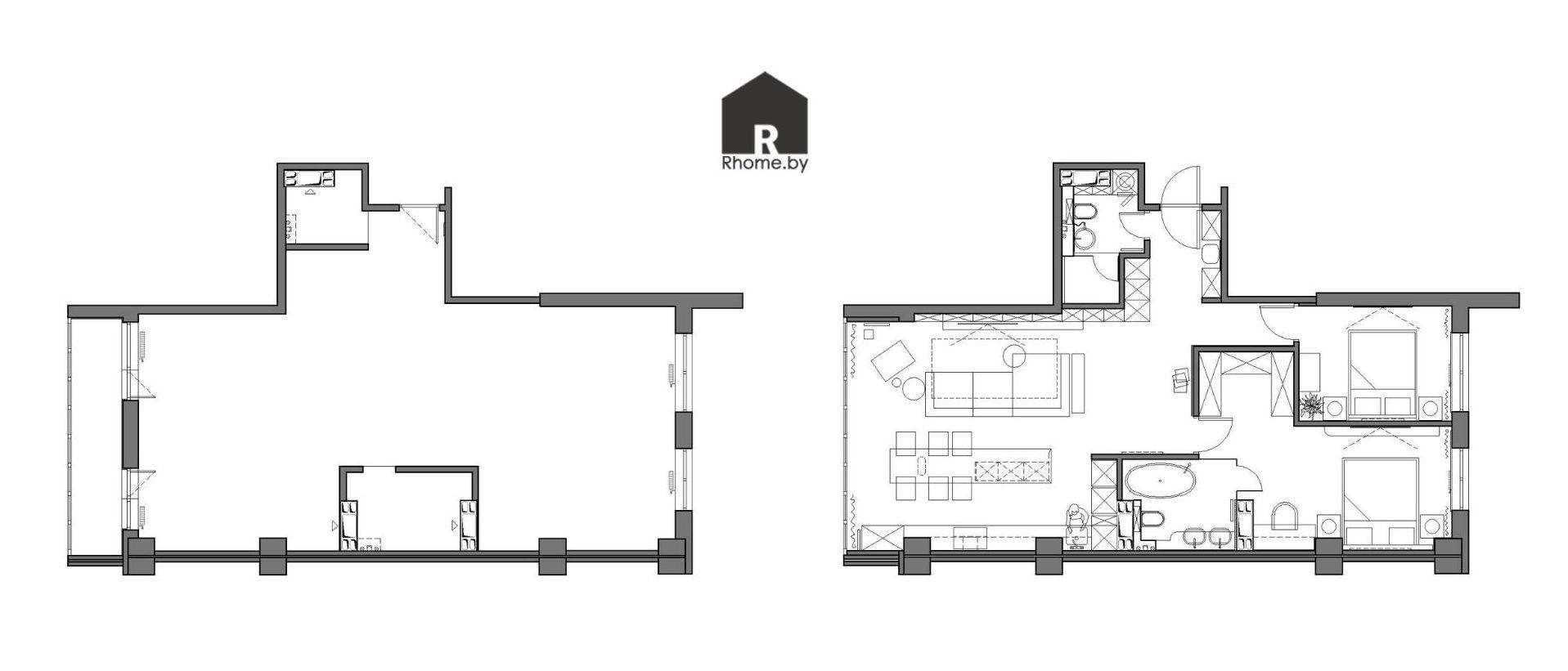 Проект дизайна квартиры до и после