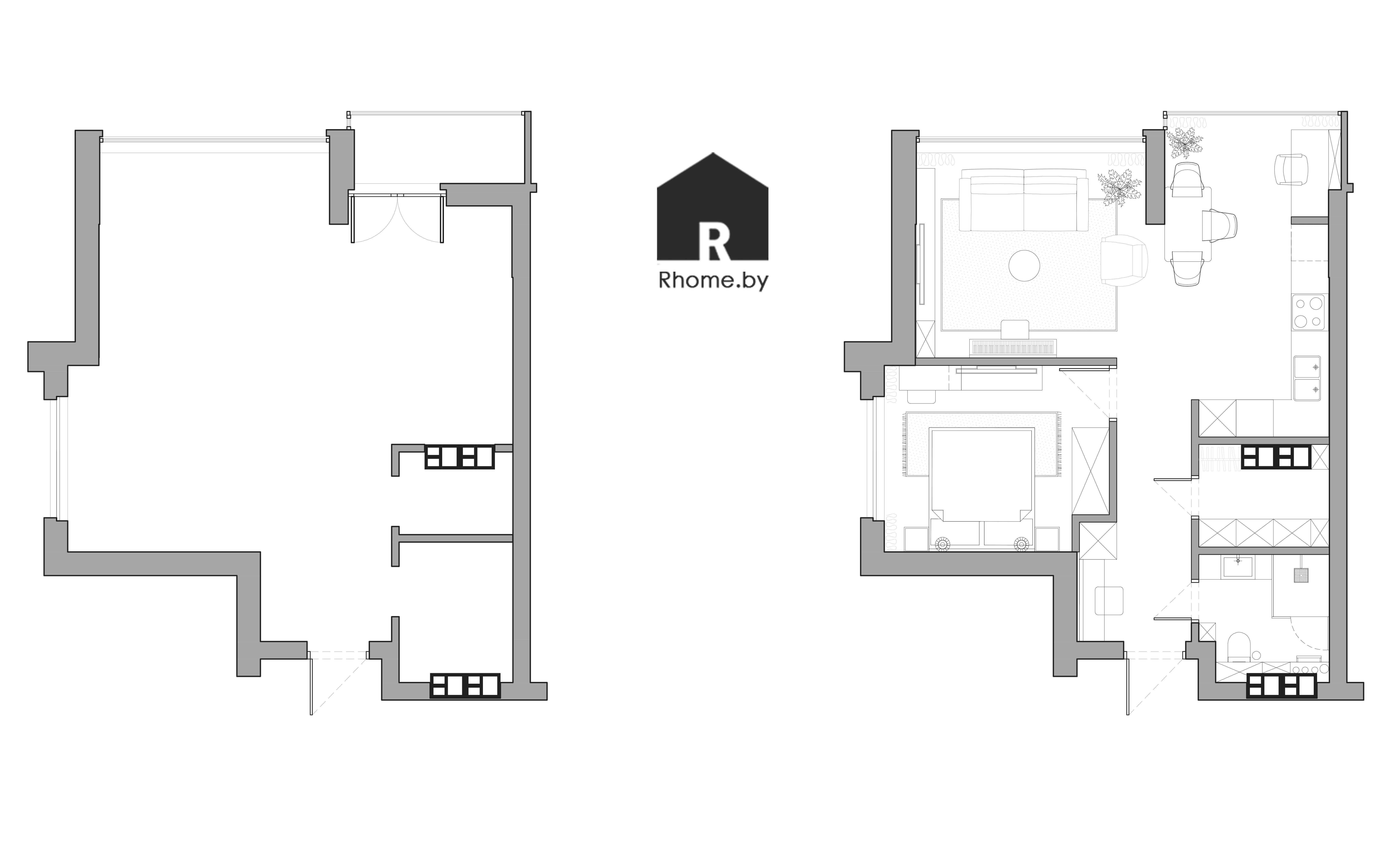 Планировка двухкомнатной квартиры на Братской 4