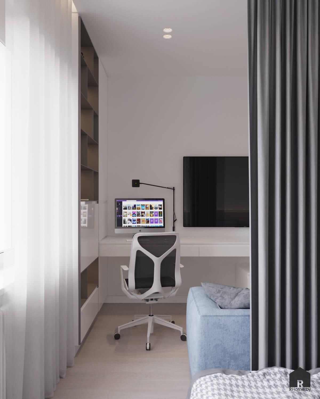 Квартира в Москве. Рабочее место с компьютером в детской комнате, разделенной шторами
