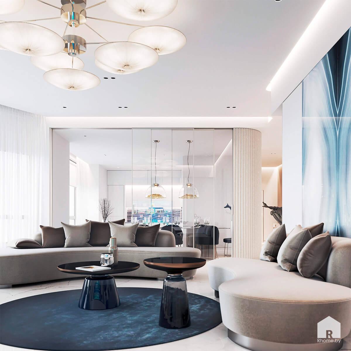 Квартира в Москве. Роскошная гостиная с большой люстрой и диваном с подушками