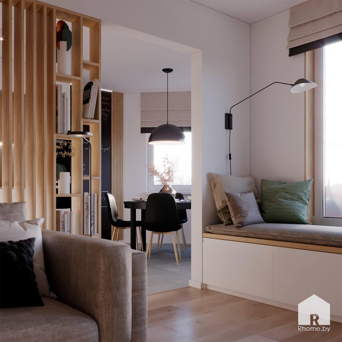Квартира в Новой Боровой. Зона для чтения на подоконнике с подушками, стол обеденный, деревянный стеллаж