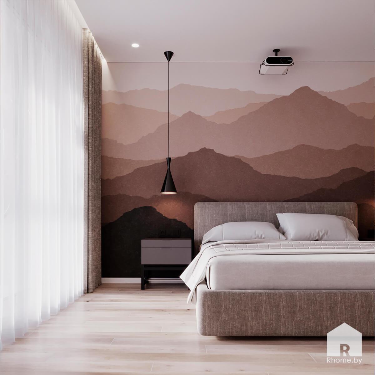 Квартира в Новой Боровой. Светлая спальня с настенной росписью, проектор в спальне, горы на стене