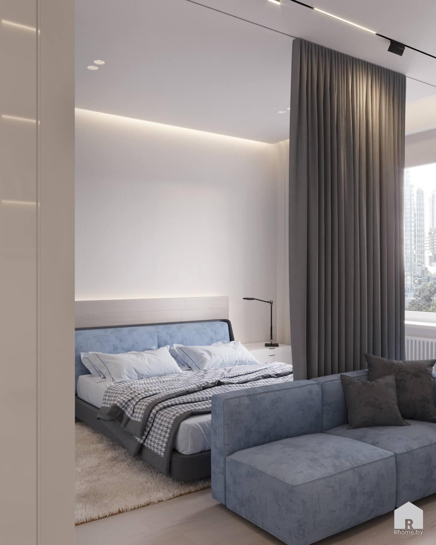 Квартира в Москве. Двуспальная голубая кровать в белой детской комнате