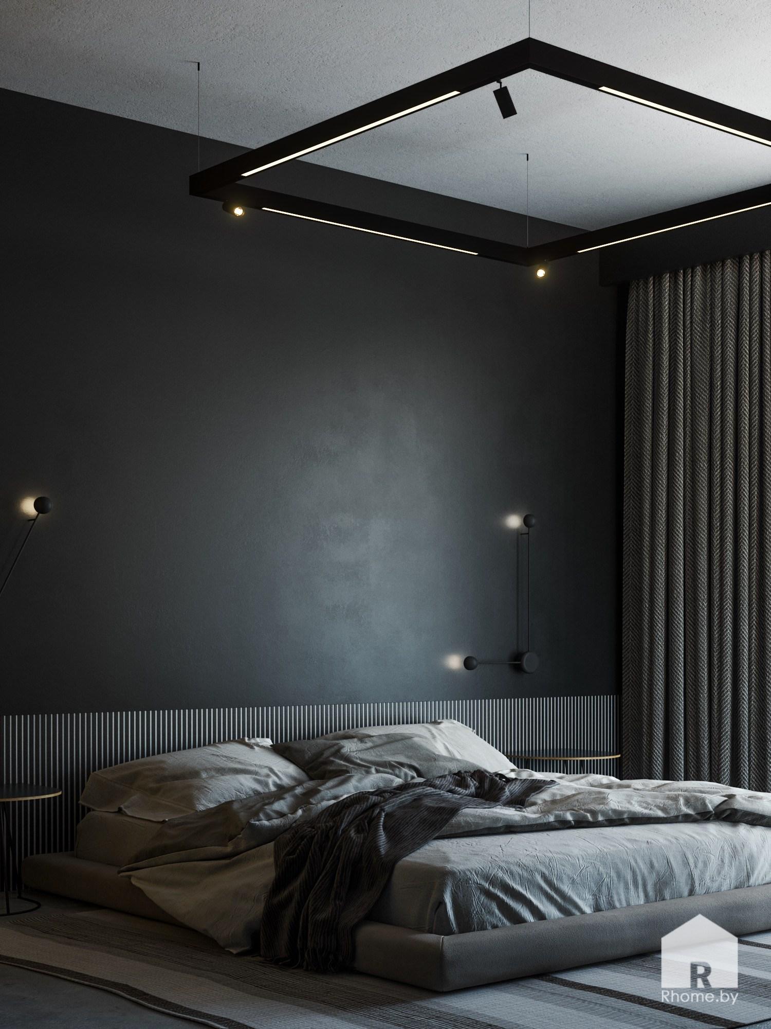 Спальная комната с бескаркасной мягкой кроватью и черными стенами