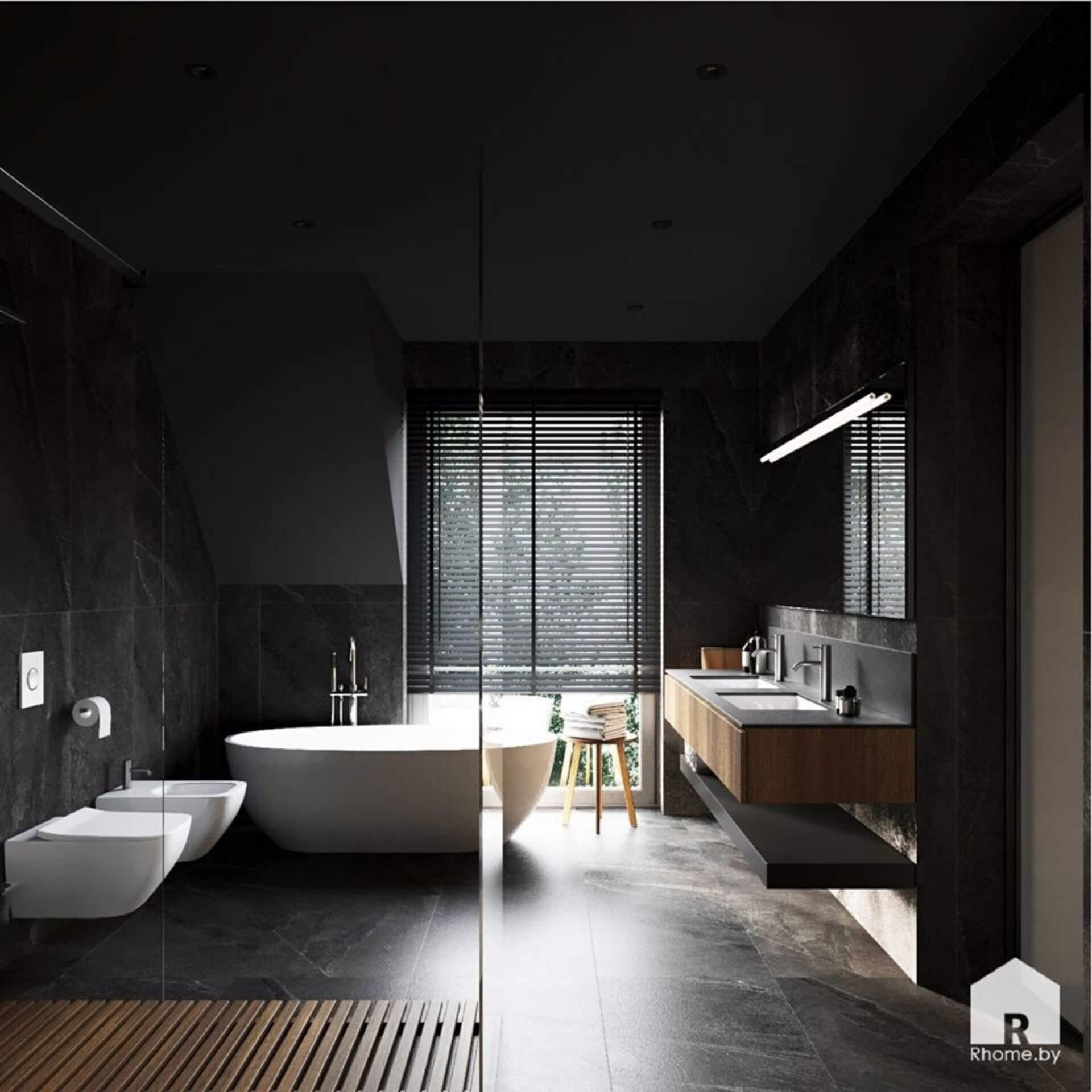 Ванная комната с большой душевой и окном в темных тонах. В центре - отдельностоящая белая ванна, по правой стороне зеркало с умывальниками.