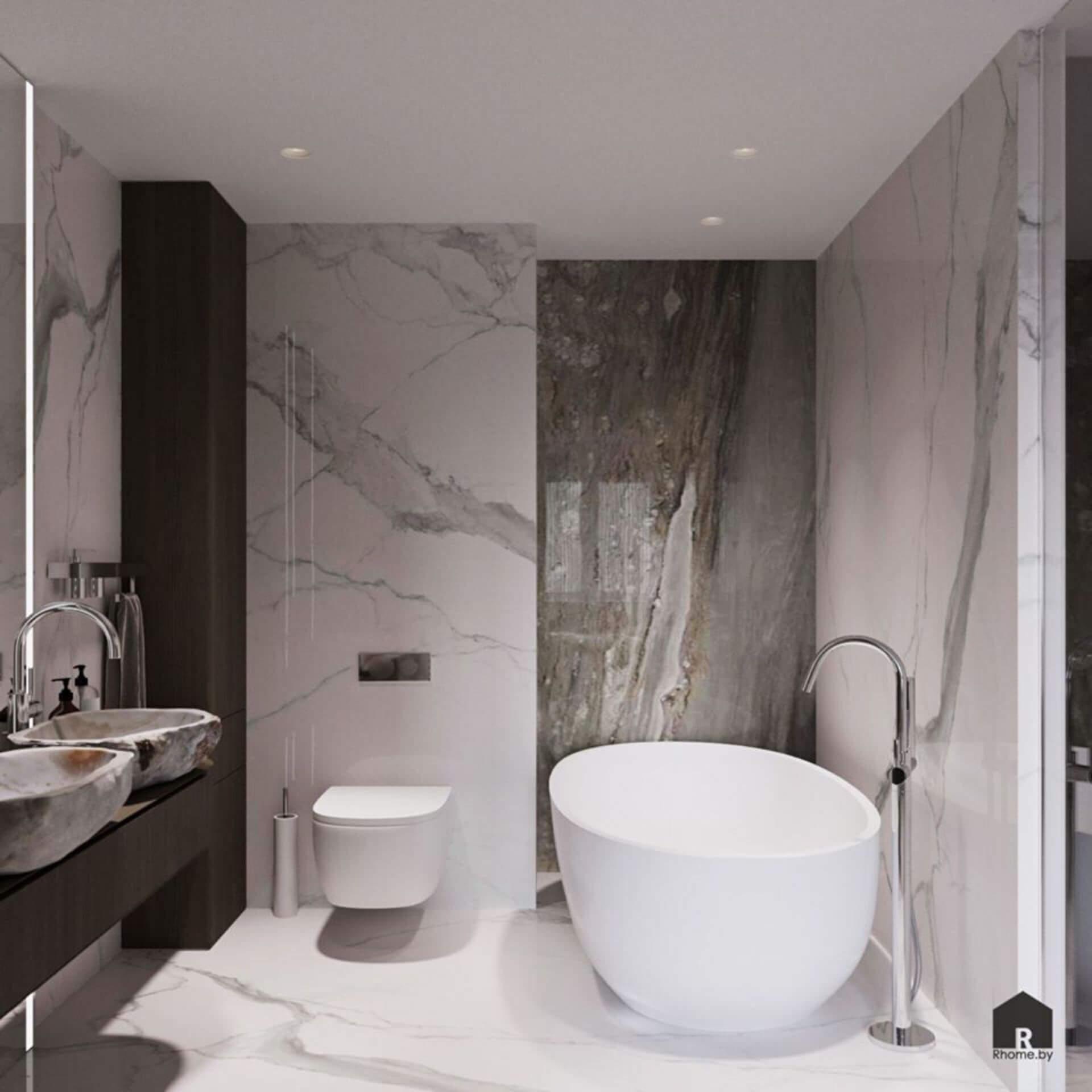 Серый санузел с отдельностоящей белой ванной и стенами под камень.
