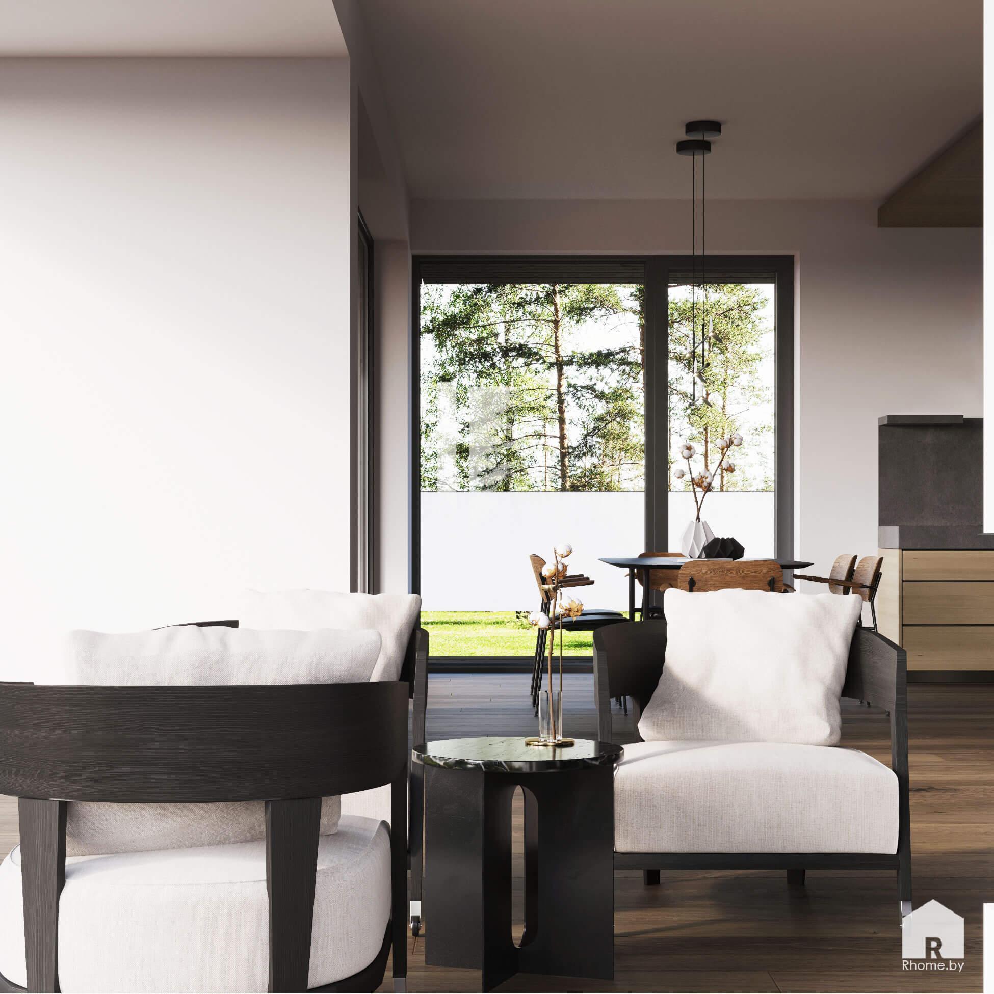 белые кресла у большого окна
