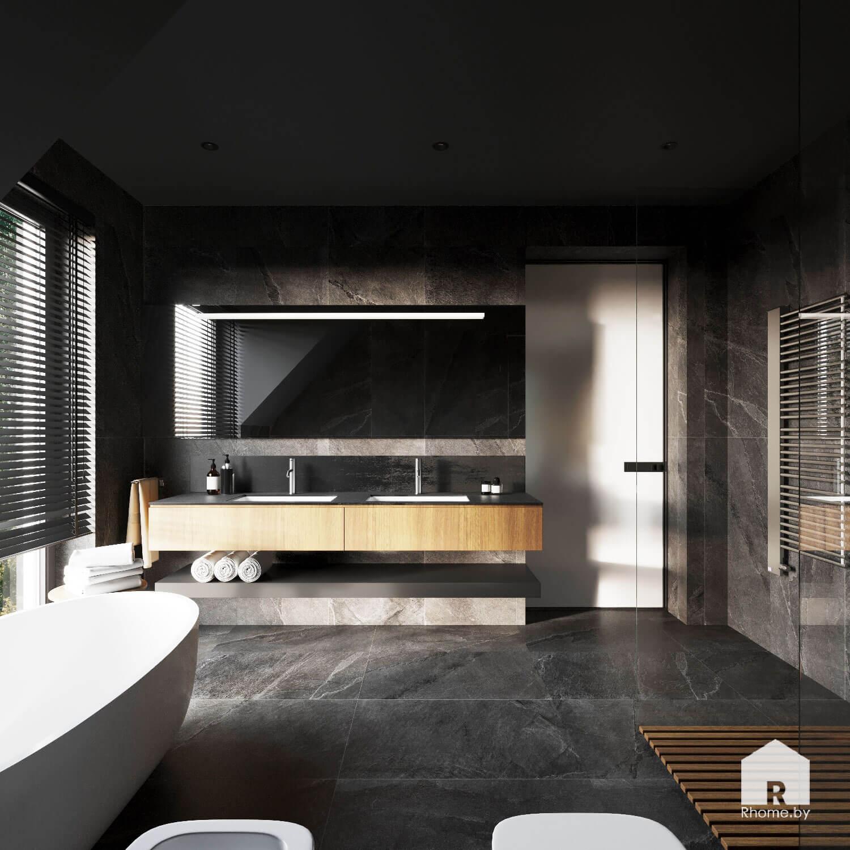 Ванная облицованная плиткой темно-серого цвета