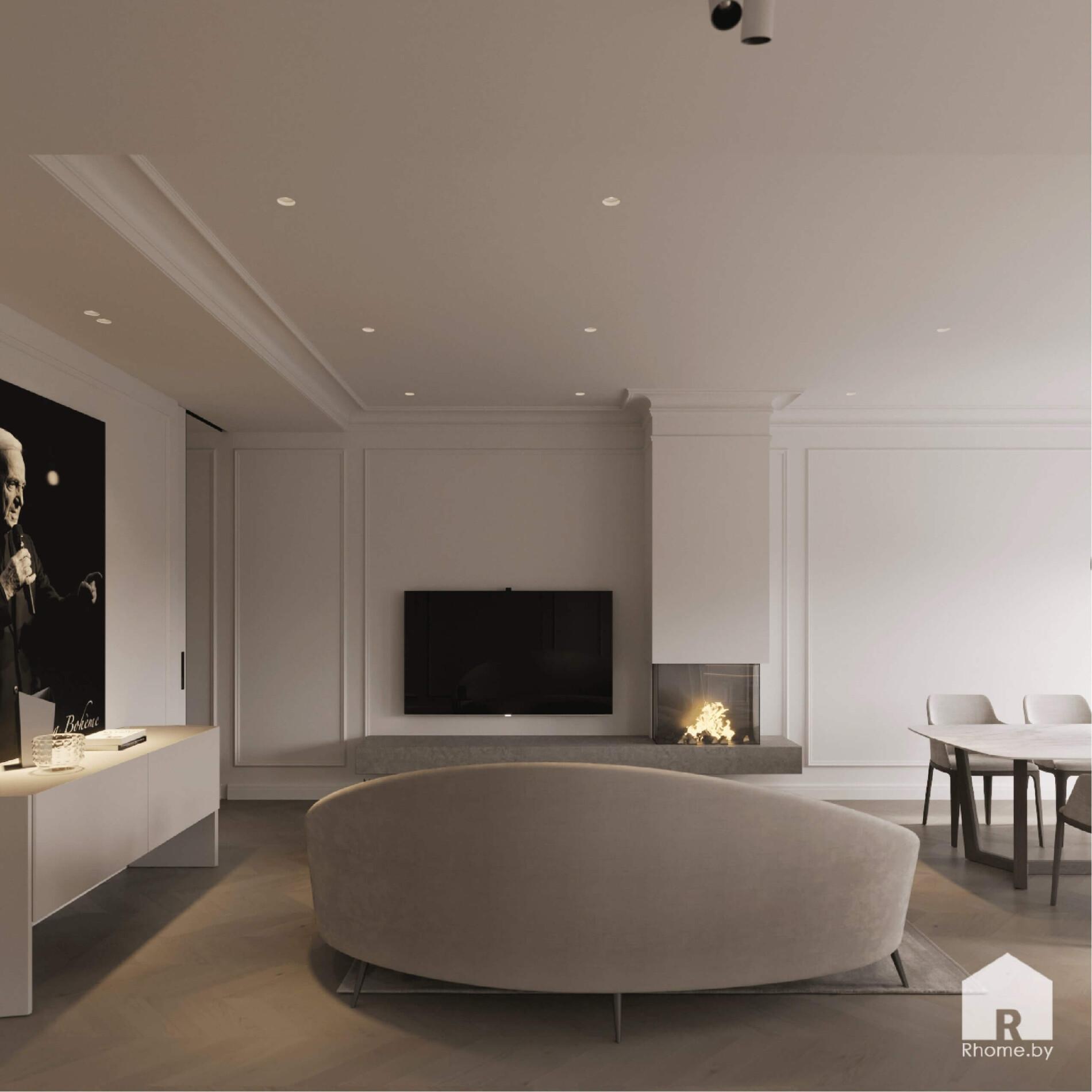 светлая гостиная в неоклассическом стиле
