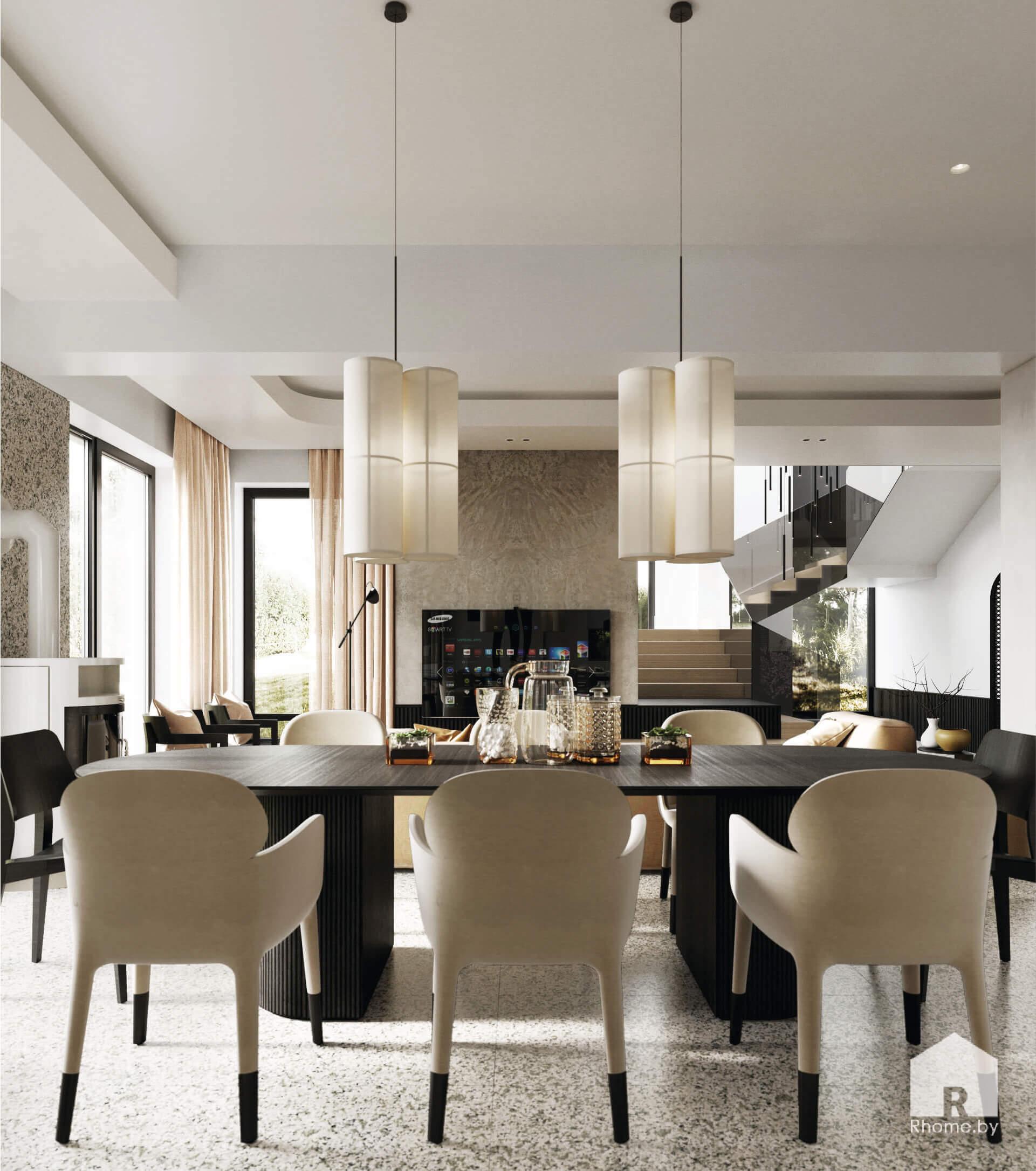 4 гостиная столовая интерьер