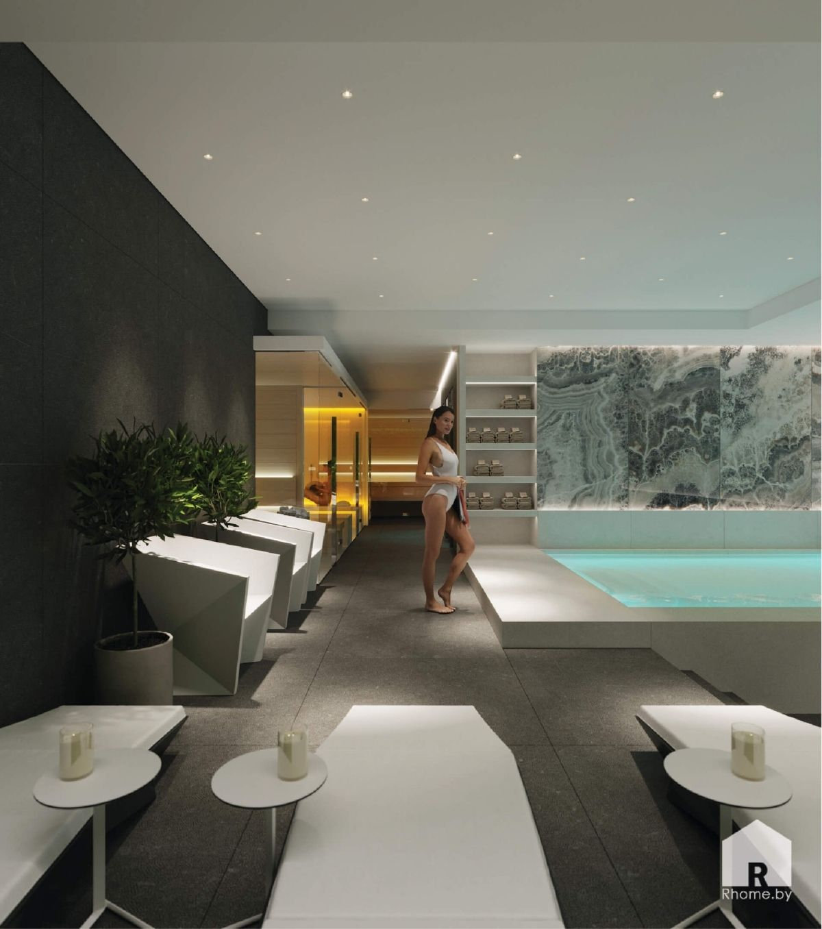 дизайн спа с бассейном