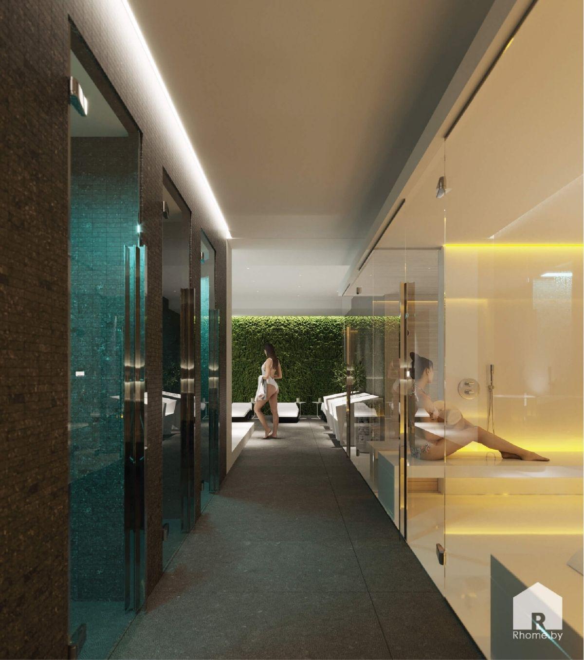 коридор в спа: душевые и стеклянные перегородки
