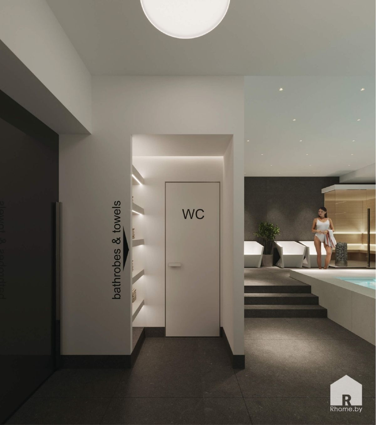 интерьер спа вход в туалет