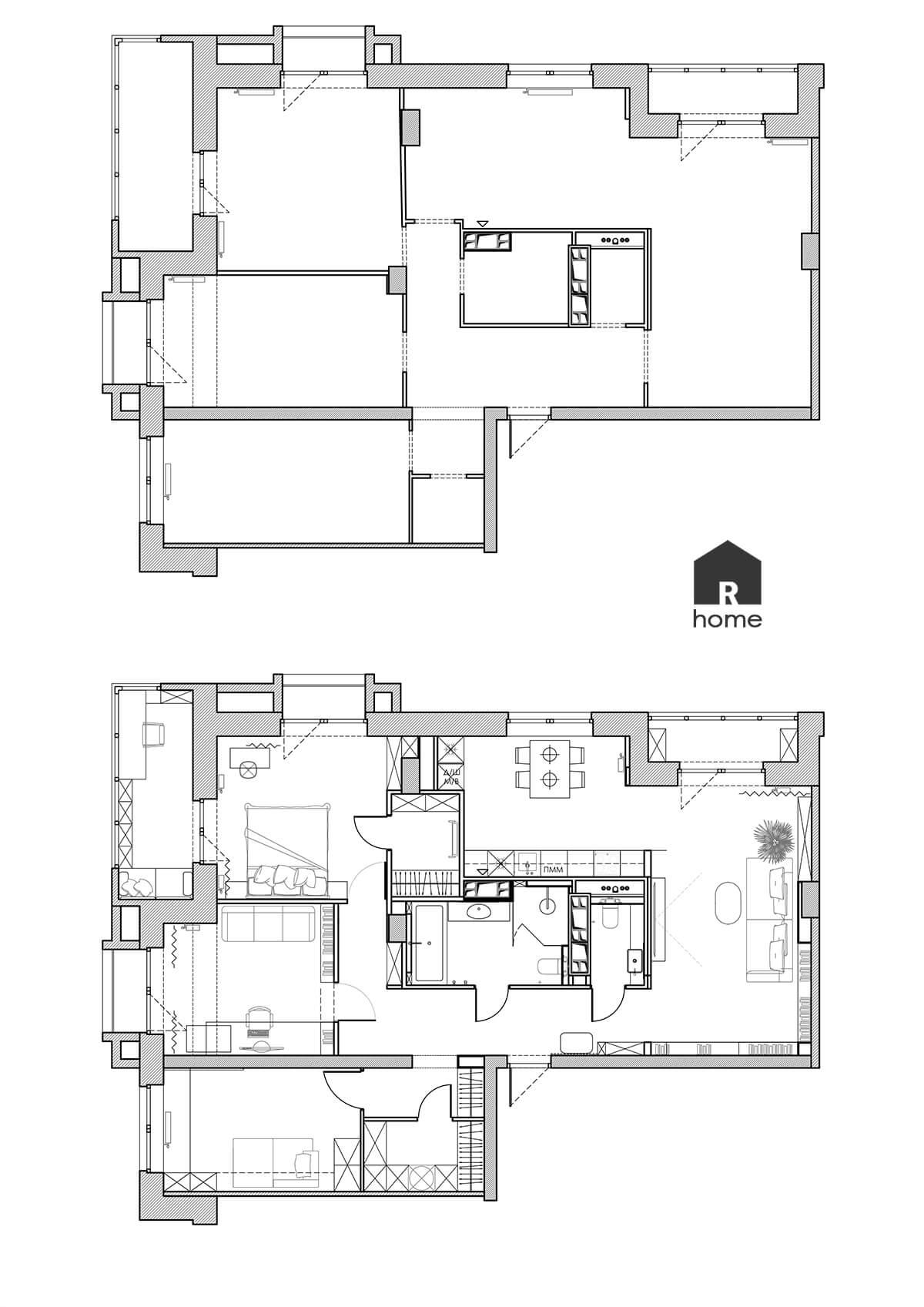 планировка четырехкомнатной квартиры до и после