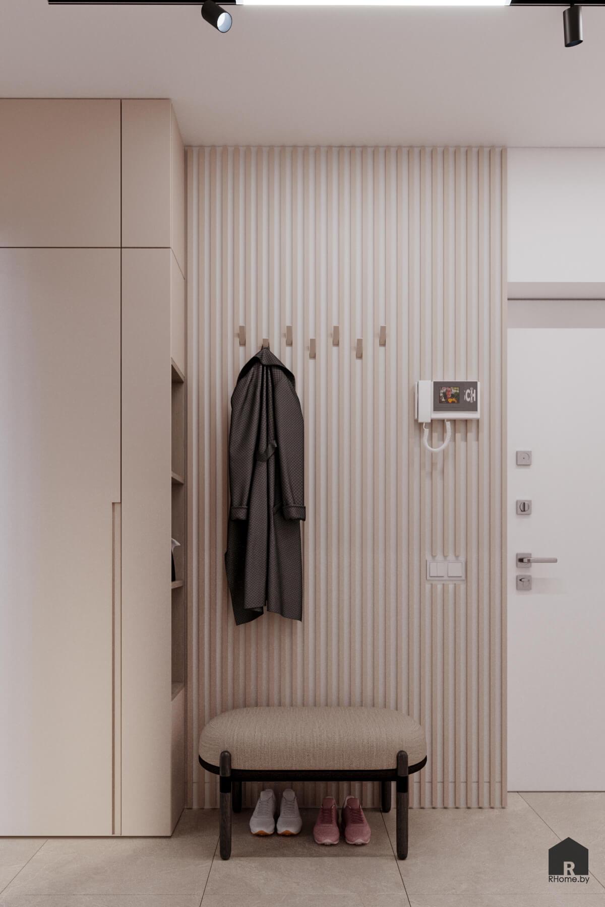 вешалка для одежды в интерьере прохожей
