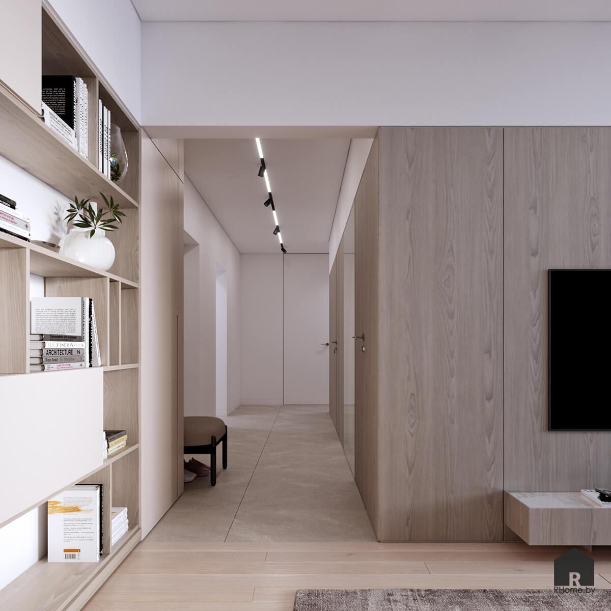 минималистичный интерьер с деревянными стеновыми панелями