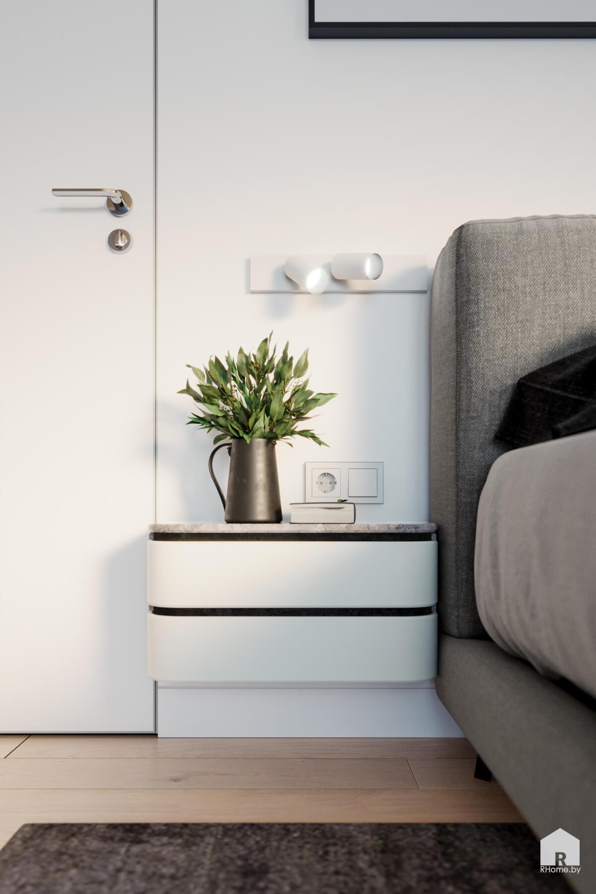 прикроватная тумбочка-консоль в интерьере спальни