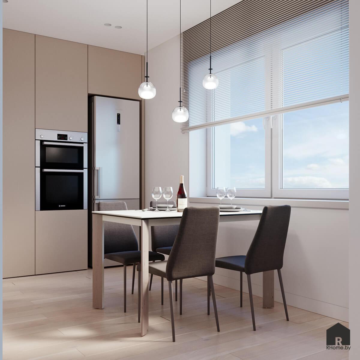 обеденный стол у окна в интерьере светлой кухни