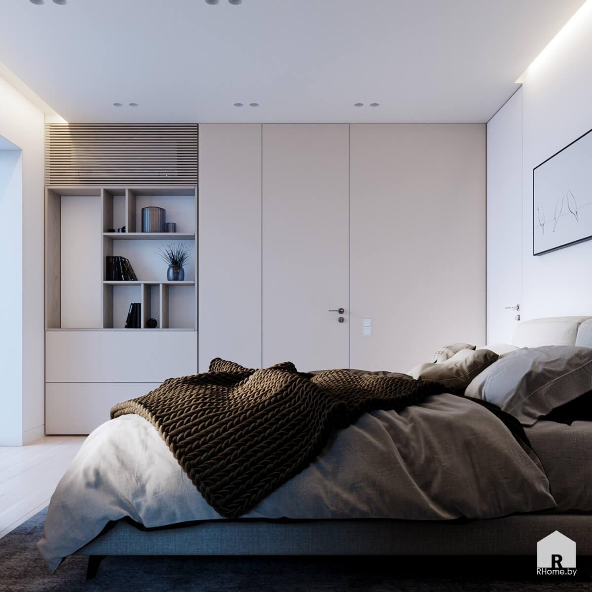 интерьер спальни с большой двуспальной кроватью