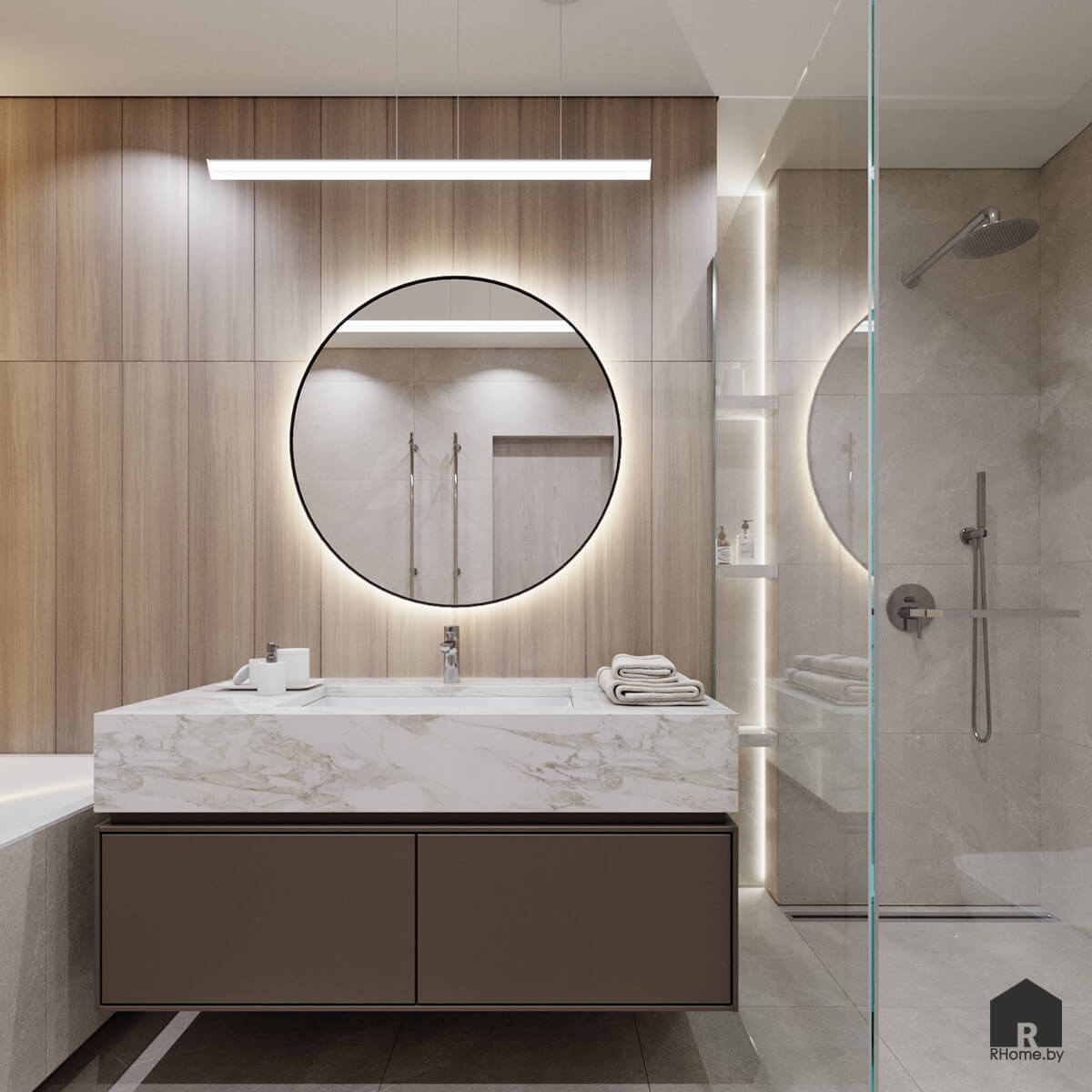 интерьер ванной в оттенках бежевого с круглым зеркалом