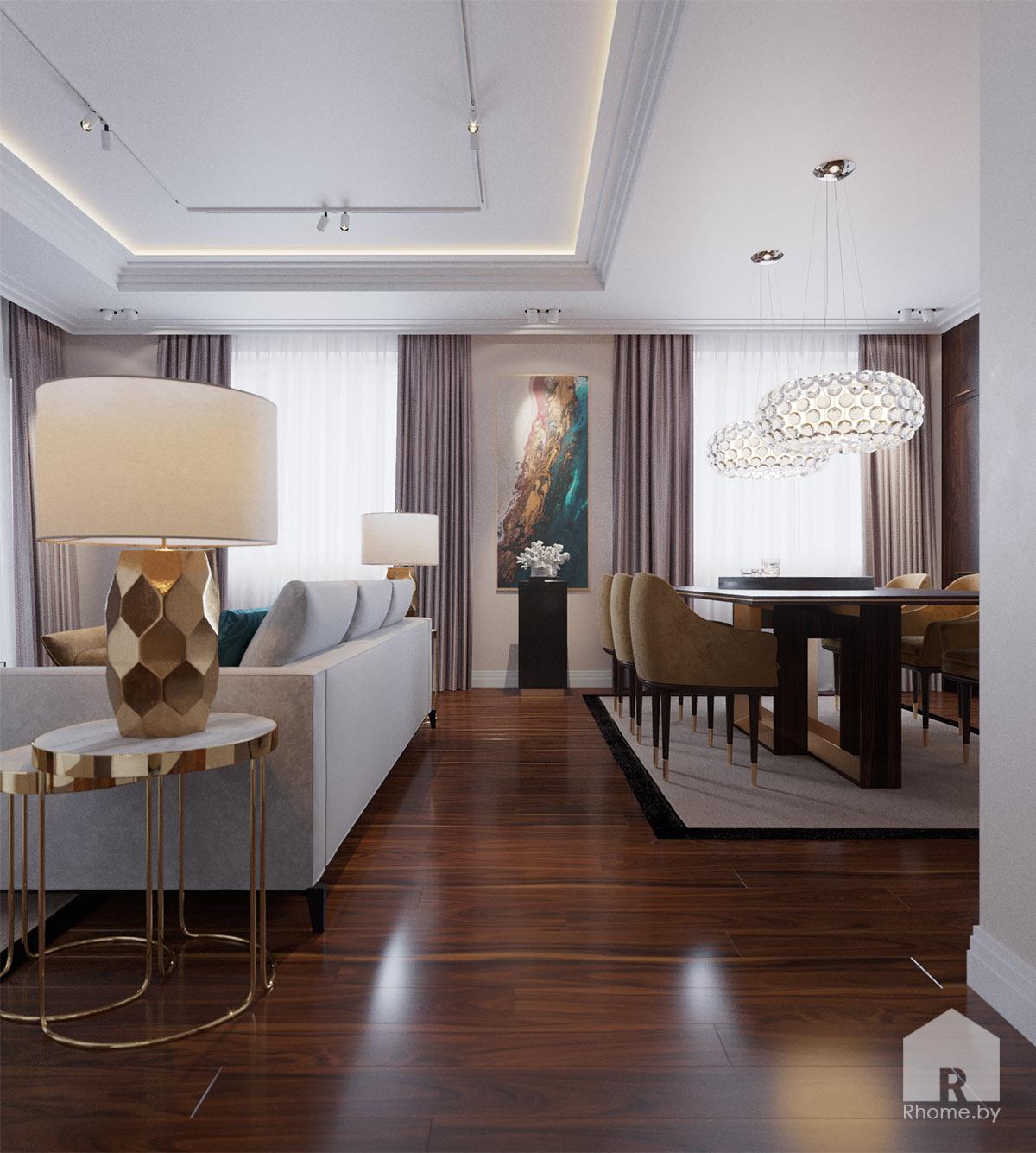 Дизайн гостиной по ул. Восточная | Дизайн студия – Rhome.by