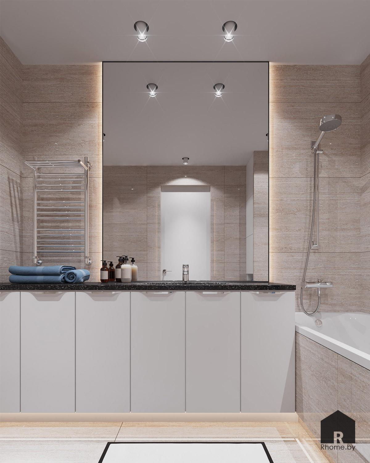 Дизайн ванной по ул. Восточная | Дизайн студия – Rhome.by