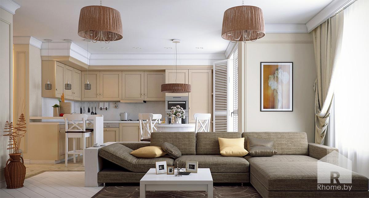 Дизайн интерьера кухни-гостиной в традиционном стиле | Дизайн студия – Rhome.by